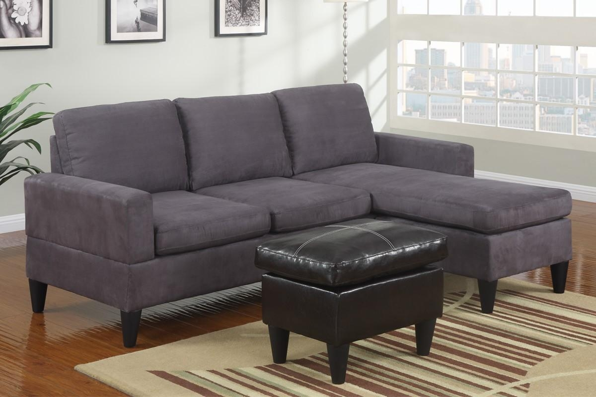 Small Grey Microfiber Suede Sectional Sofa With Ottoman Lowest Regarding Suede Sectionals (Image 18 of 20)