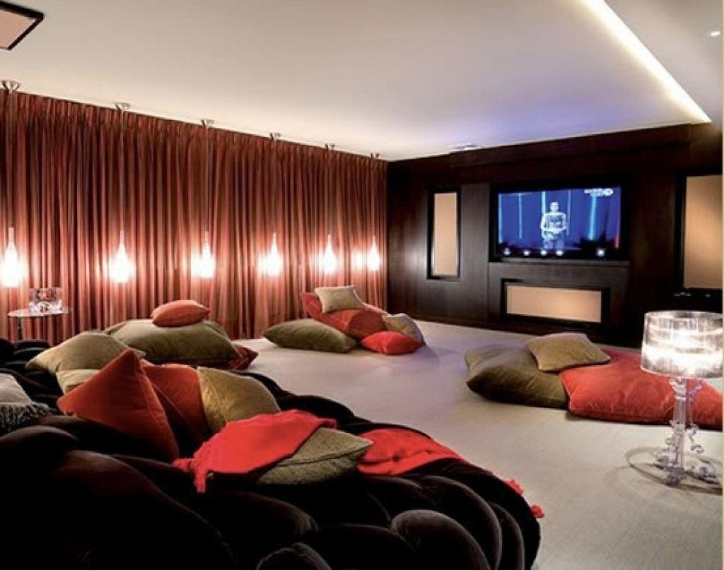 Small Home Theater Room Ideas Red Seats Green Cushions Wall With Theater Room Sofas (Image 18 of 20)