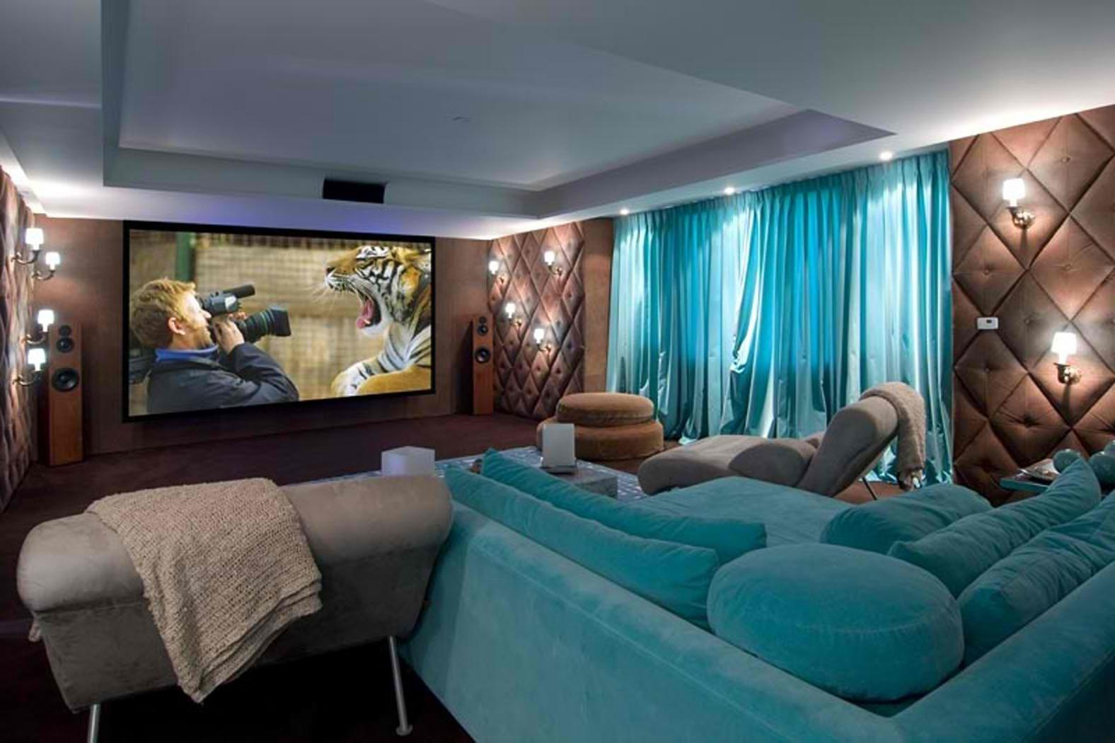 Small Home Theater Room Ideas Simple Wall Lighting Brown Laminate In Theater Room Sofas (Image 19 of 20)