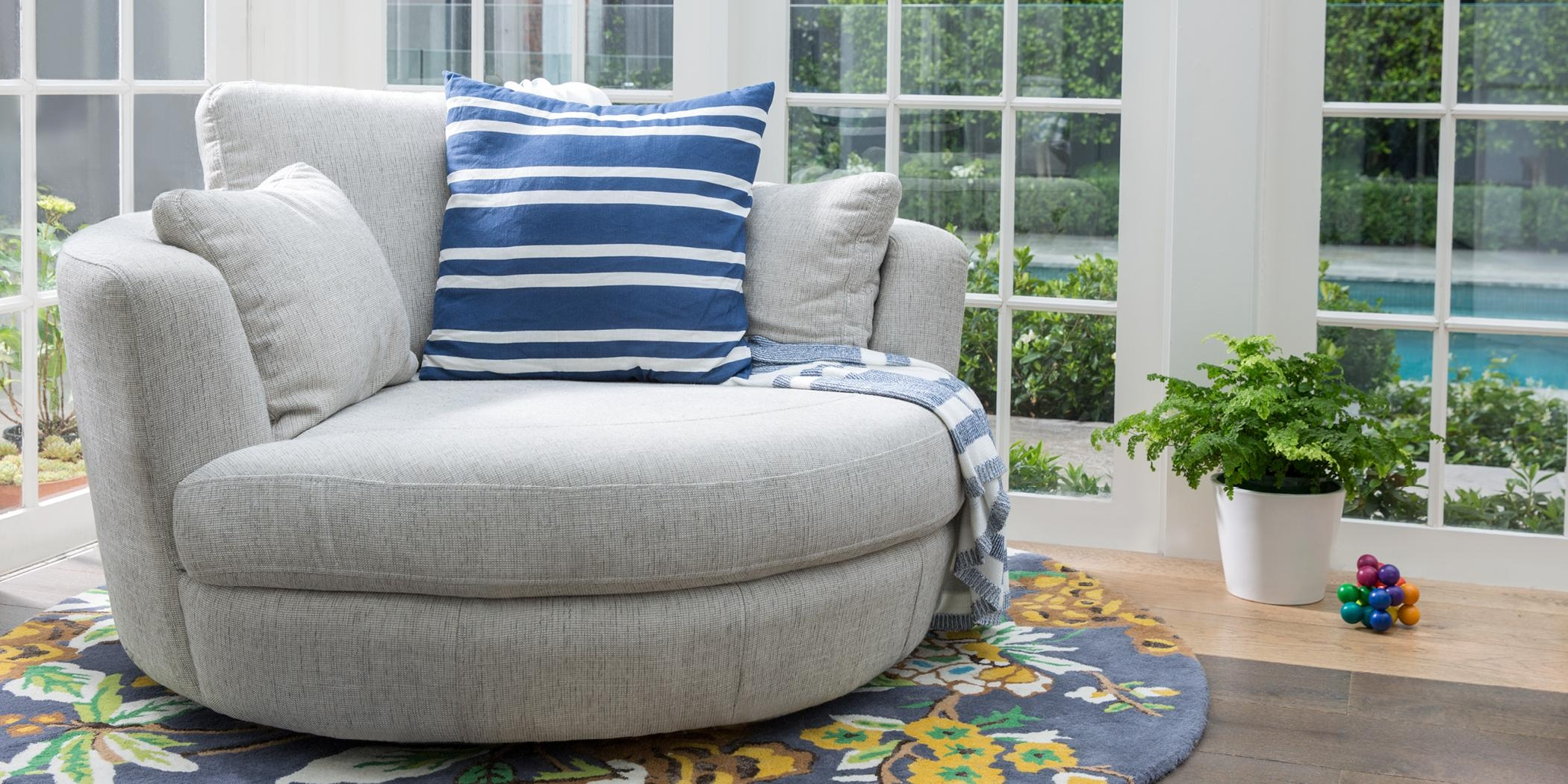 Snuggle Chair Leather, Fabric, Occasional Chairs Plush Furniture With Regard To Circular Sofa Chairs (View 15 of 20)