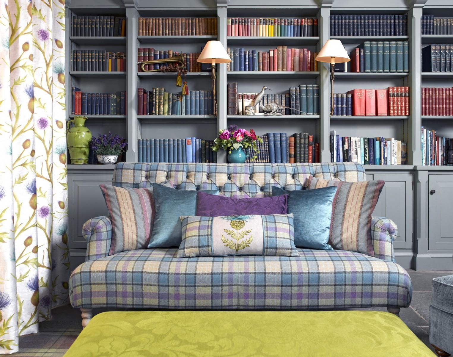 Snuggle Up With Plaid In Your Home Intended For Blue Plaid Sofas (Image 18 of 20)