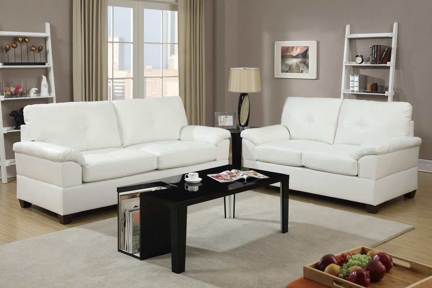 Sofa: Astounding White Leather Loveseat 2017 Ideas White Sofa Set With Regard To Off White Leather Sofa And Loveseat (Image 16 of 20)