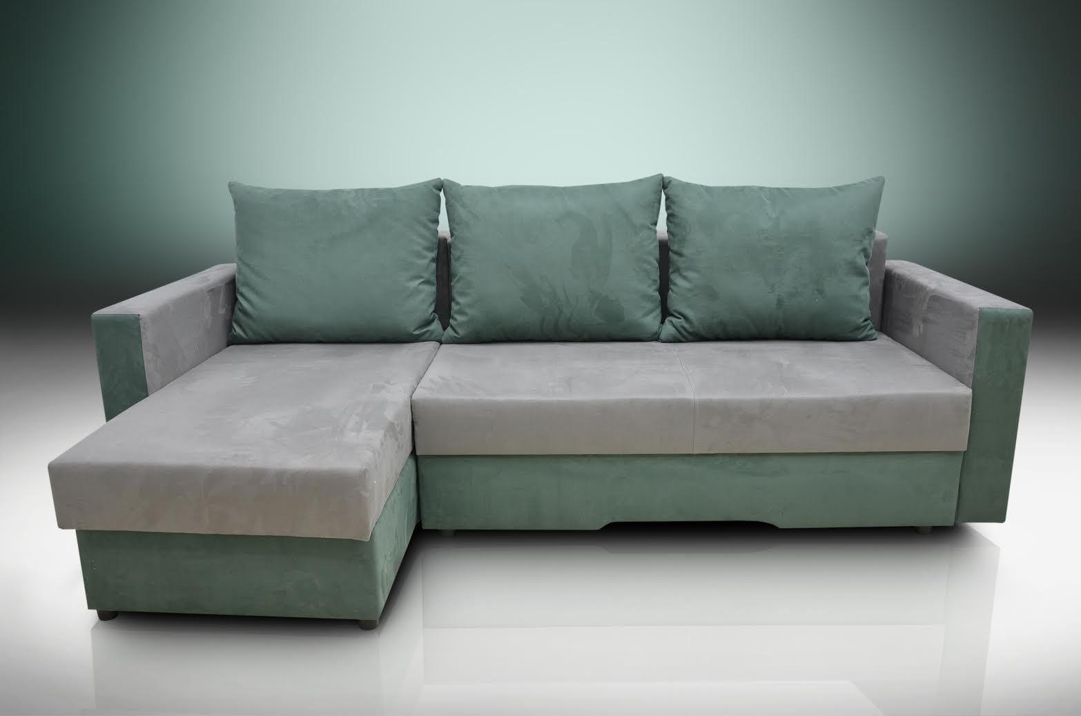 Sofa Bed Bristol Grey/forest Green Faux Suede Fabric Regarding Faux Suede Sofa Bed (Image 16 of 20)