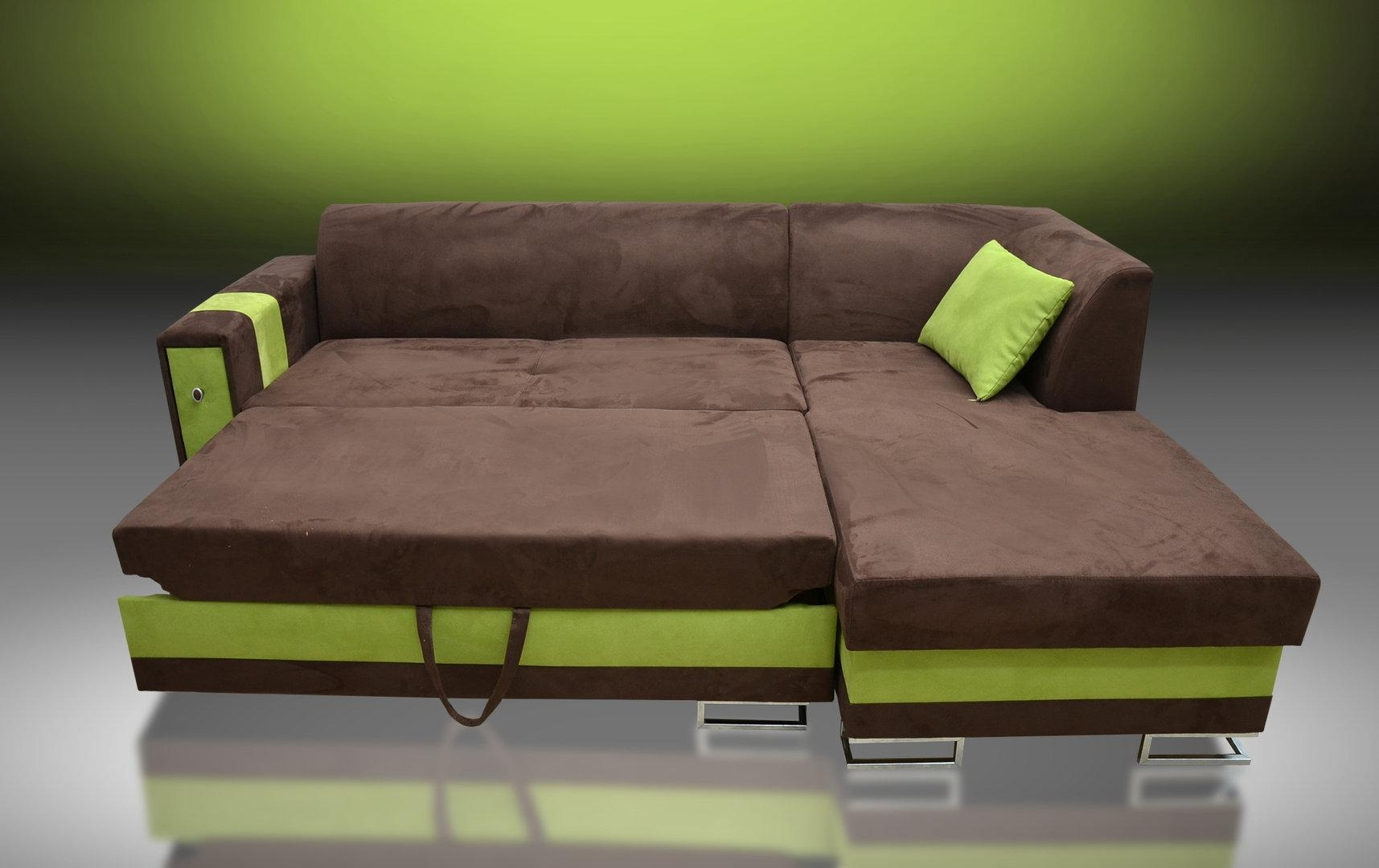 Sofa Bed Flame, Faux Suede Fabric Brown/kiwi Green In Faux Suede Sofa Bed (Image 17 of 20)