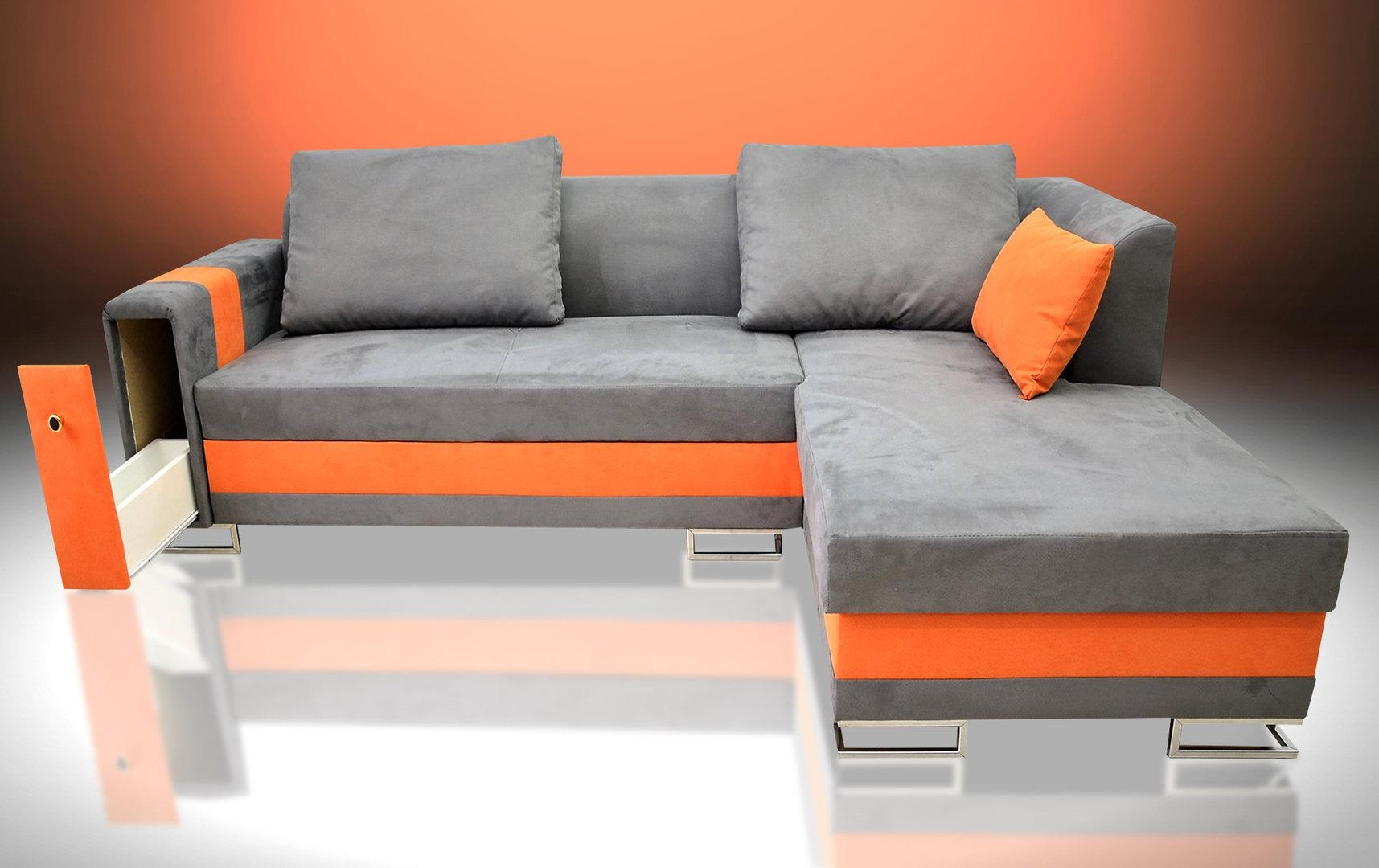 Sofa Bed Flame, With Drawer In The Armrest, Faux Suede Fabric Grey Within Faux Suede Sofa Bed (Image 18 of 20)