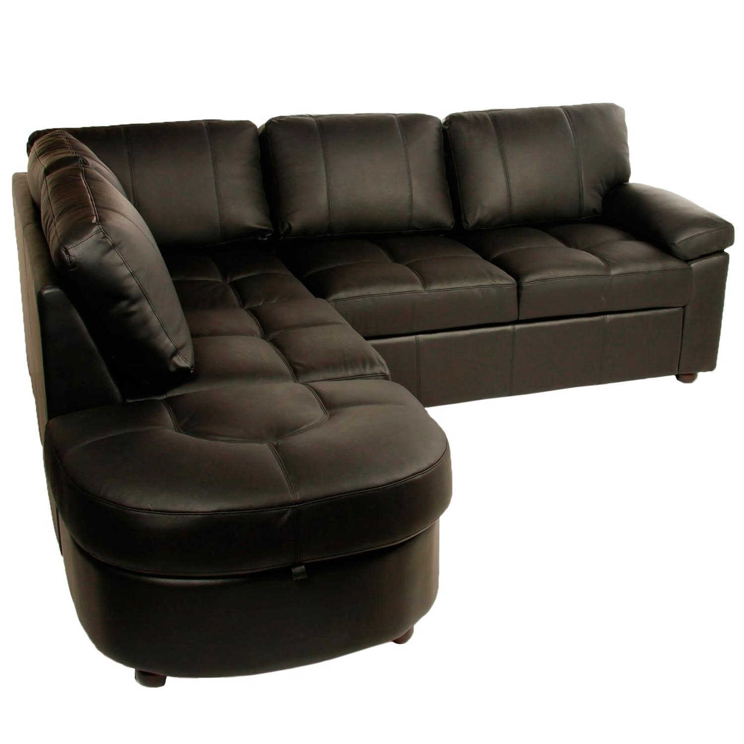 Siena Corner Leather Effect Sofa Bed With Storage Black