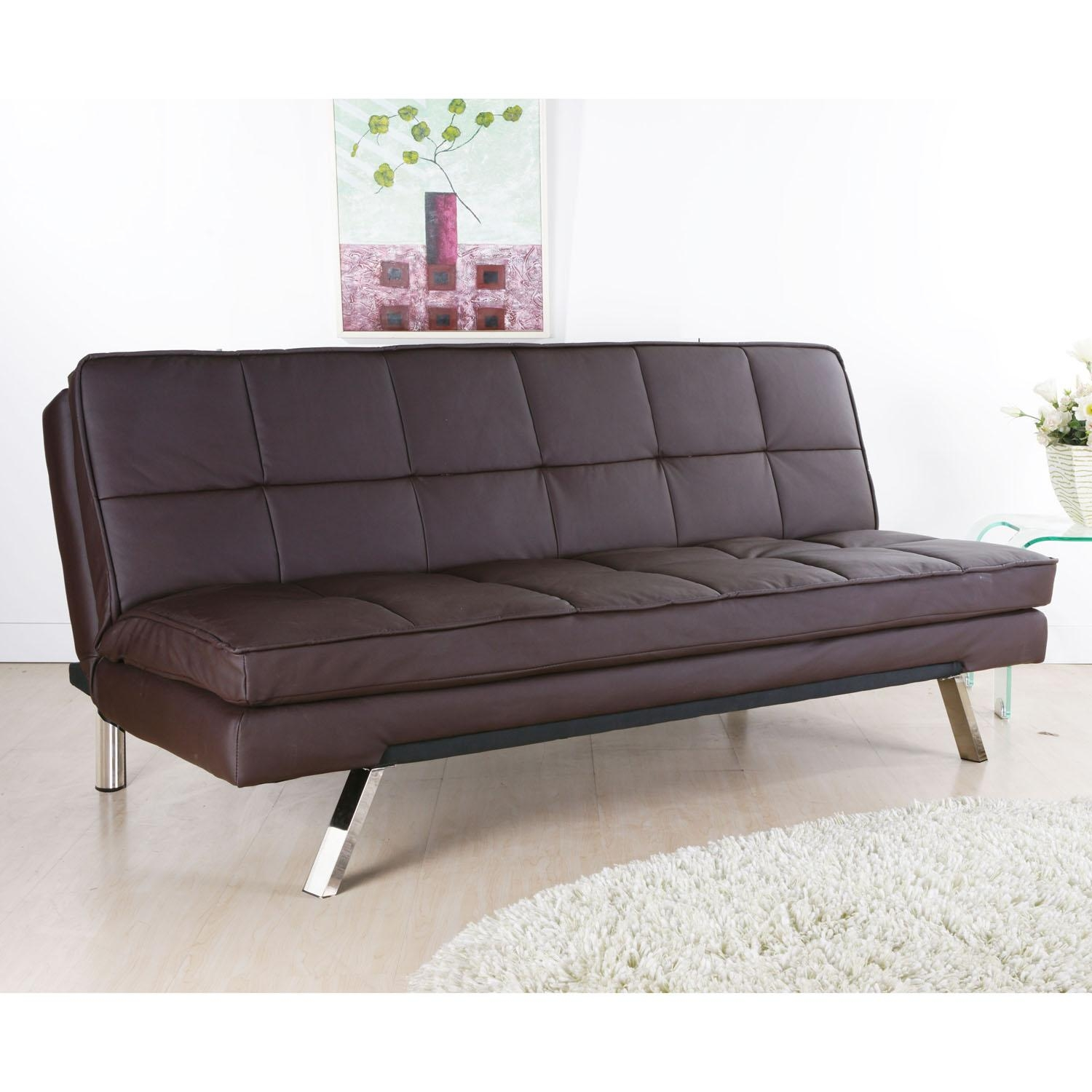 Sofa Bed Next Day Delivery Florence Brown Faux Leather Sofa Bed For Florence Sofa Beds (Image 18 of 20)