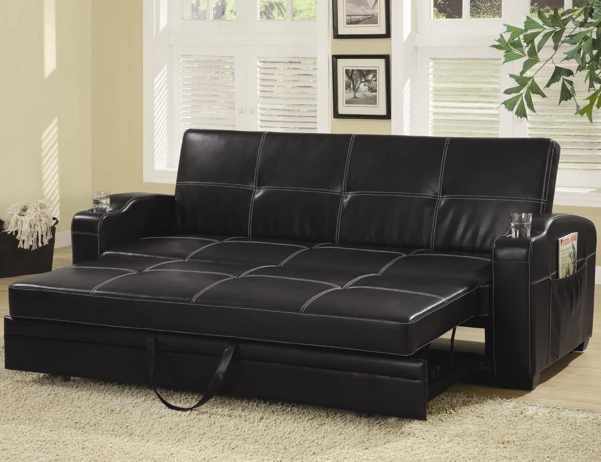 Sofa Beds And Futons – Faux Leather Sofa Bed With Storage And Cup Within Leather Sofa Beds With Storage (Image 20 of 20)