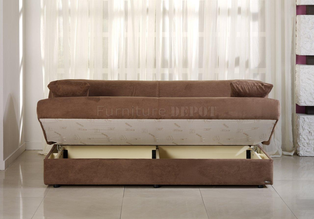 Sofa Beds With Storage And Contemporary Truffle Microfiber Sofa For Microsuede Sofa Beds (View 5 of 20)