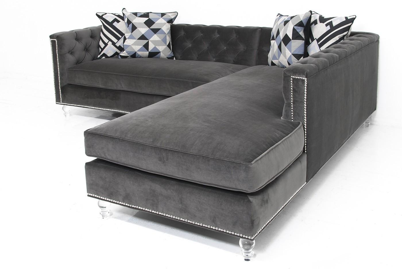 Sofa: Comfort And Style Is Evident In This Dynamic With Tufted Regarding Velvet Sofas Sectionals (Image 13 of 20)