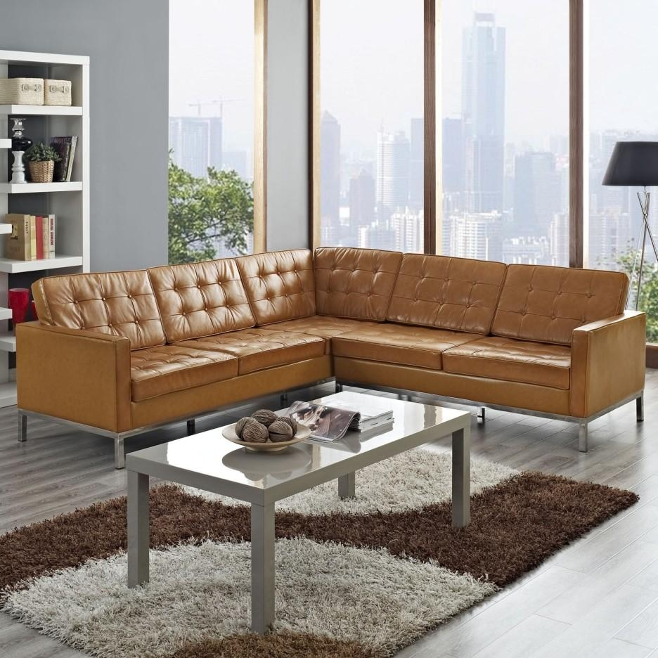 Sofa: Comfort And Style Is Evident In This Dynamic With Tufted Within Leather L Shaped Sectional Sofas (Image 19 of 20)