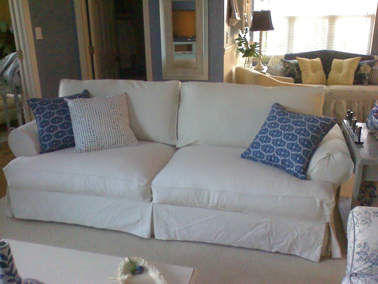 Sofa Covered In Blue Denim (View 6 of 20)
