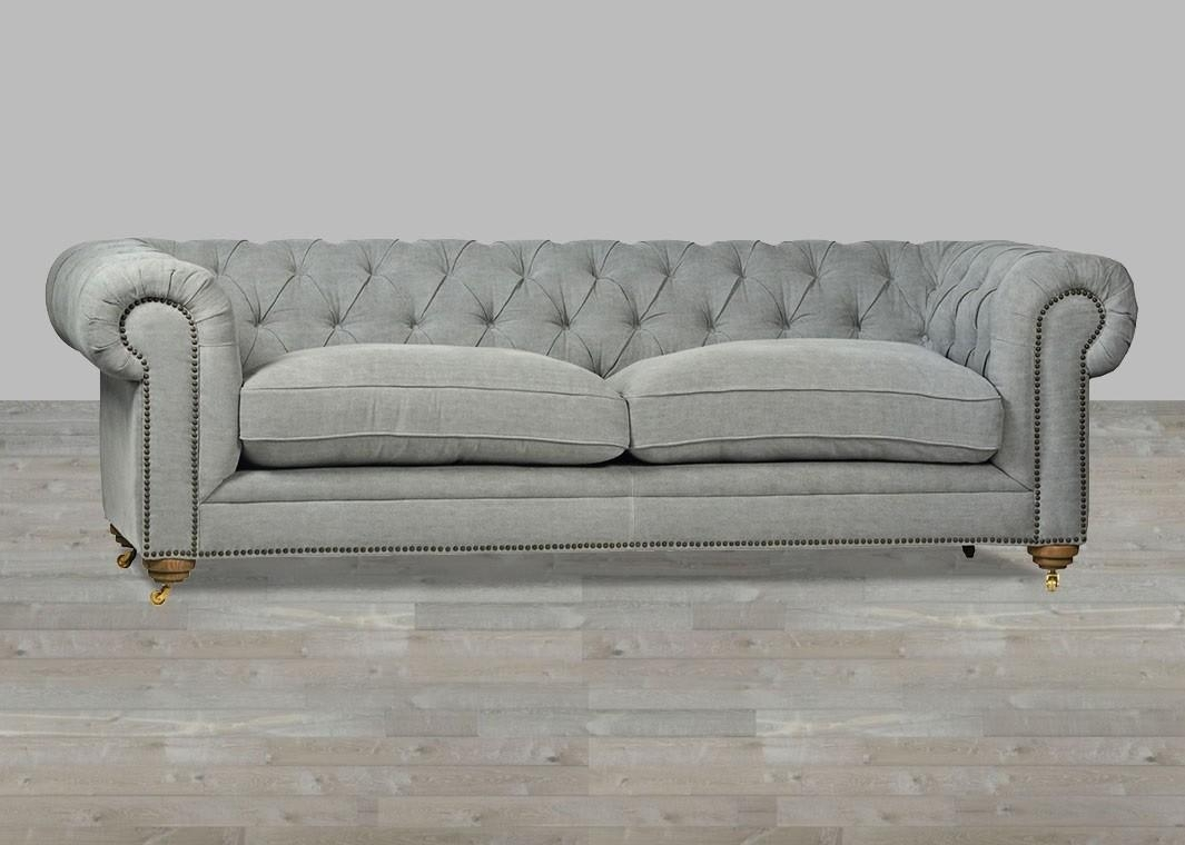Sofa Grey Chesterfield Style Button Tufted Throughout Silver Tufted Sofas (Image 12 of 20)