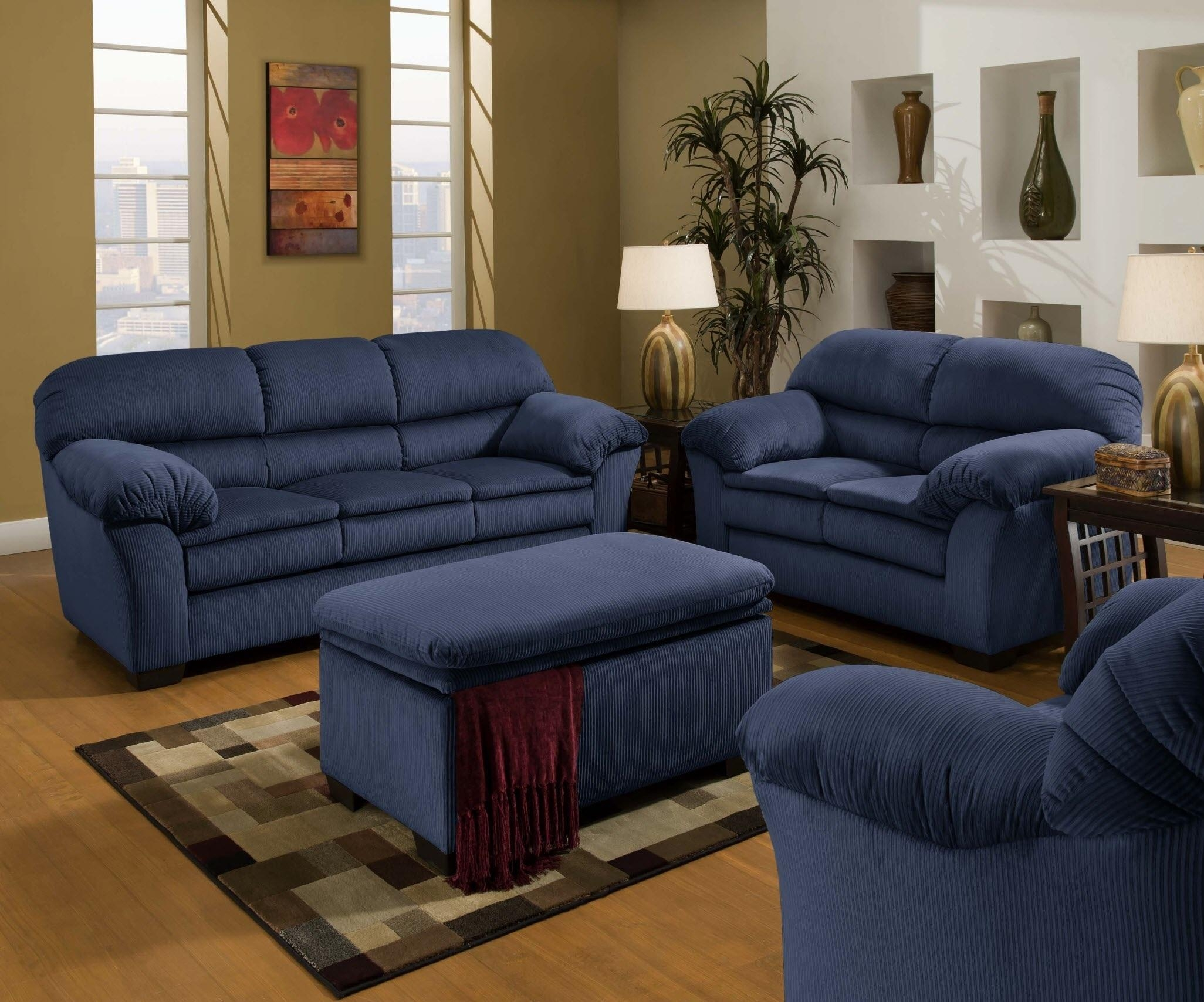 Sofa: Outstanding Navy Blue Sofa Set 2017 Collection Dark Blue With Dark Blue Sofas (View 4 of 20)
