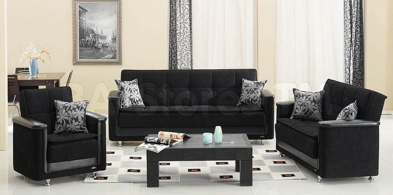 Sofa Sets: Vermont 3 Pc Black Sofa Set (Sofa, Loveseat And Chair Within Sofa Loveseat And Chair Set (View 11 of 20)