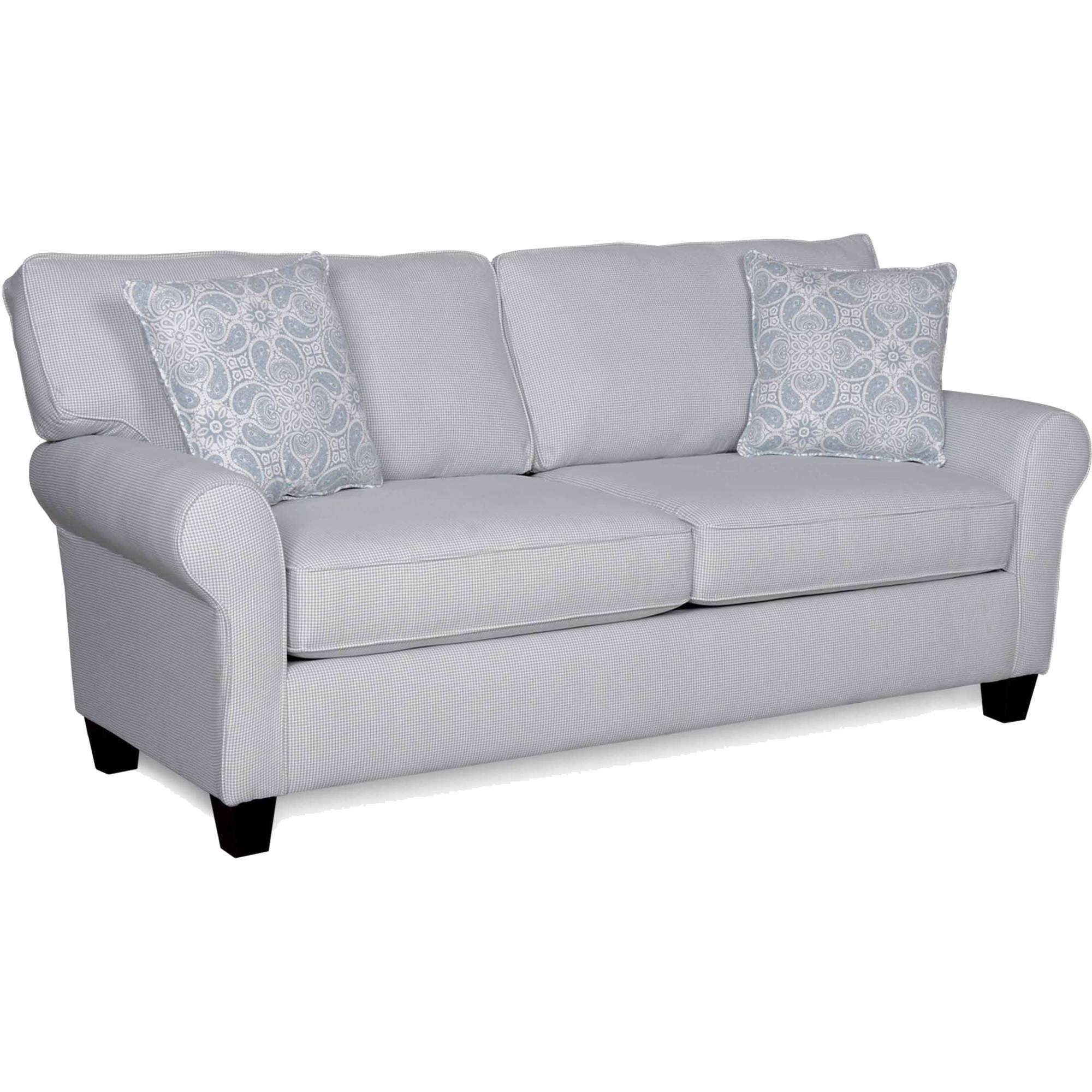 Sofab Bella Lake Slate Blue Gingham Sofa With 2 Accent Pillows Intended For Gingham Sofas (View 3 of 20)