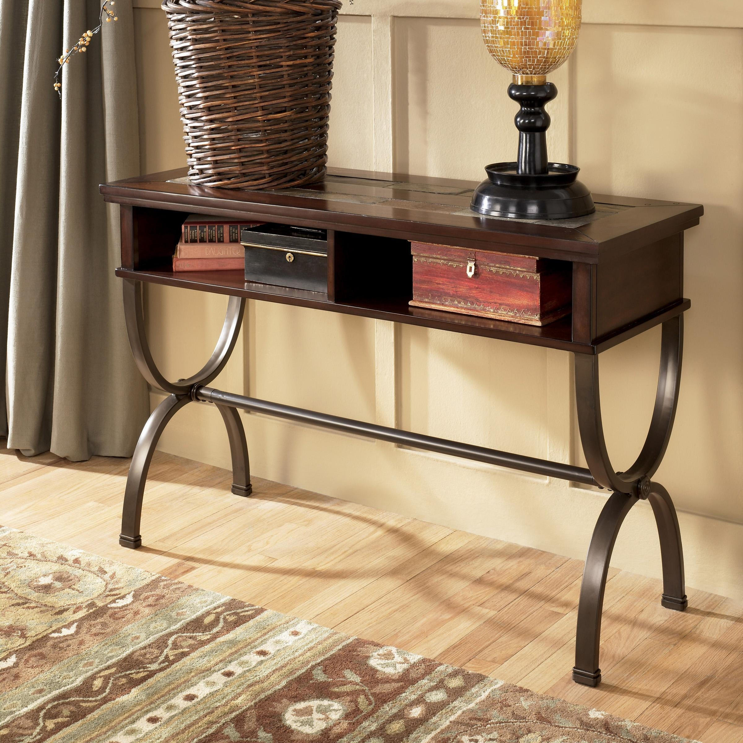 Sofa/console Table With Slate Inlay And Metal Basesignature Intended For Slate Sofa Tables (Image 17 of 20)