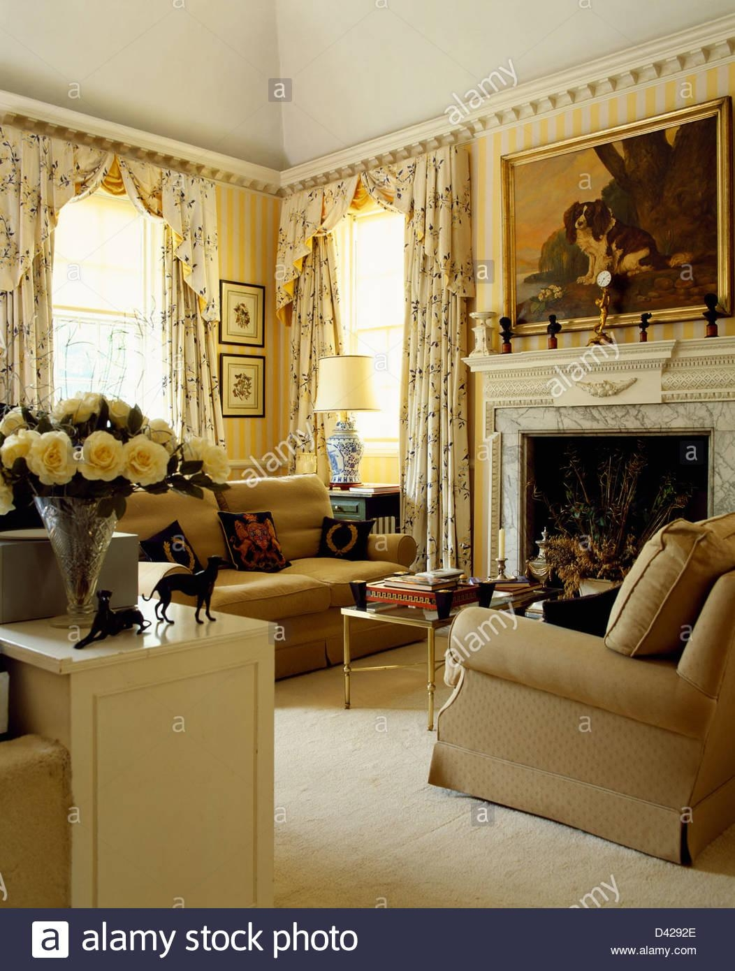 Sofas Armchairs In Living Room Stock Photos & Sofas Armchairs In Pertaining To Yellow Chintz Sofas (View 20 of 20)