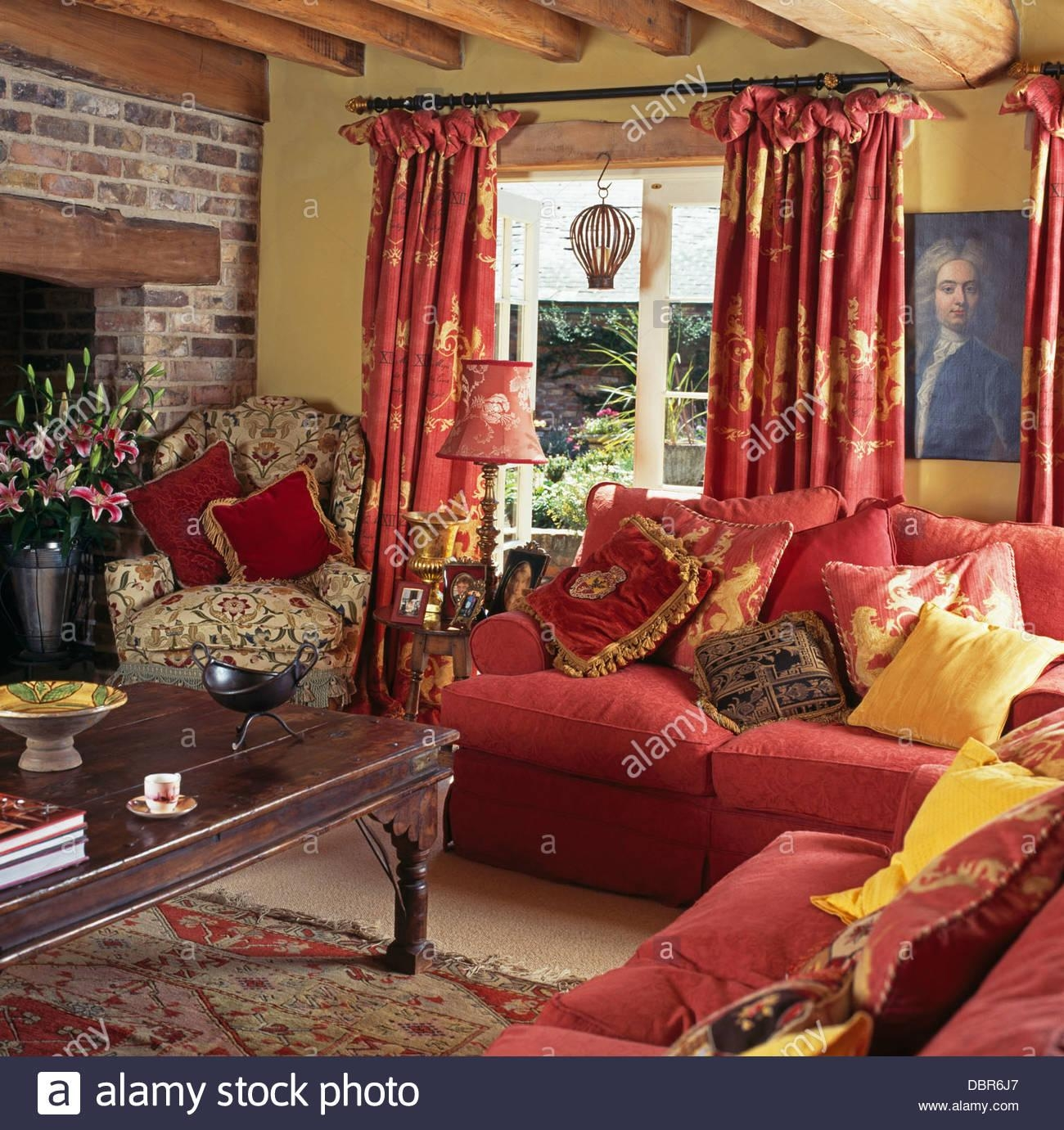 Sofas Armchairs In Living Room Stock Photos & Sofas Armchairs In With Yellow Chintz Sofas (View 16 of 20)