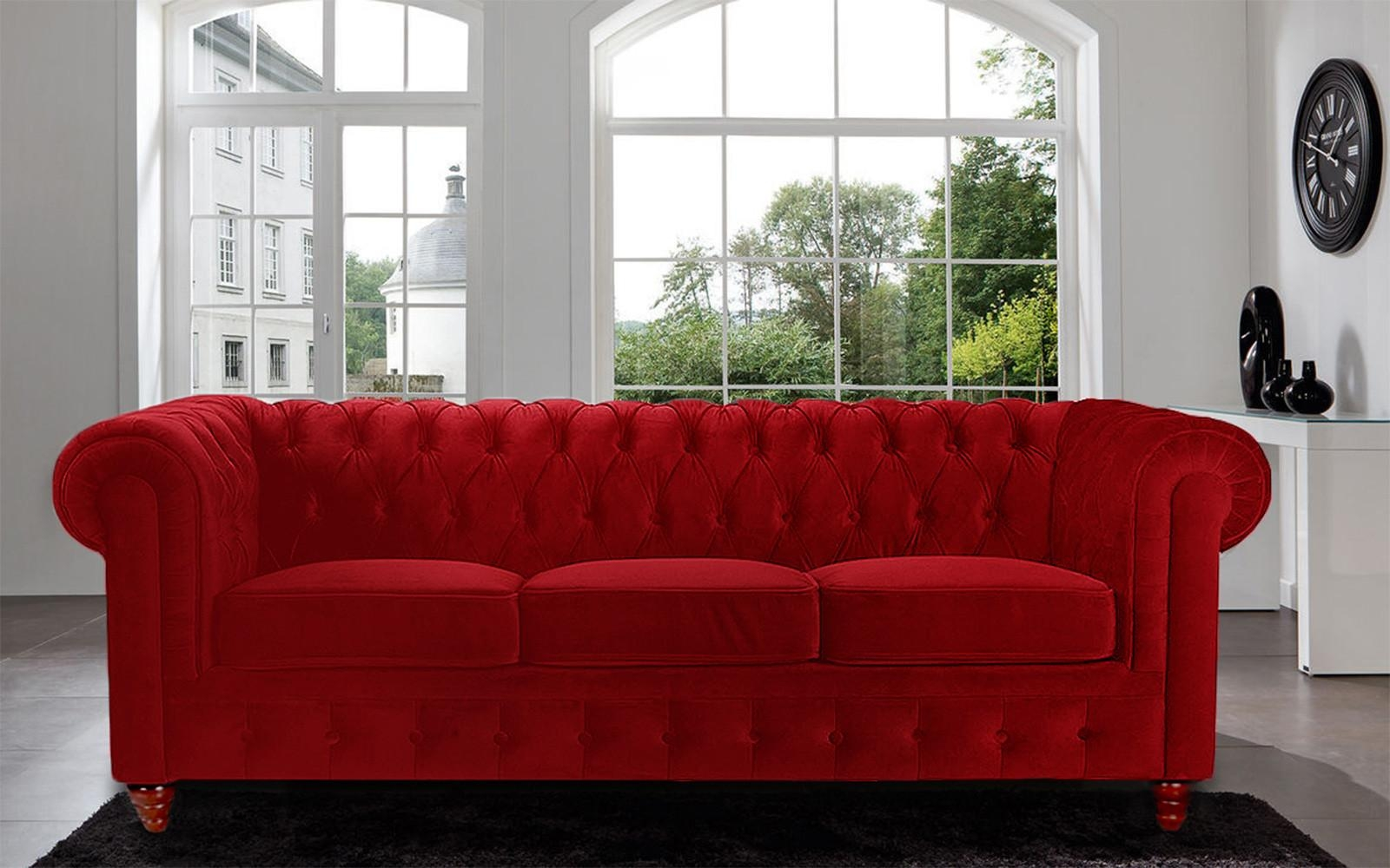 Sofas Center : Amazing Velvet Chesterfielda Image Inspirations Regarding Red Leather Chesterfield Sofas (Image 14 of 20)