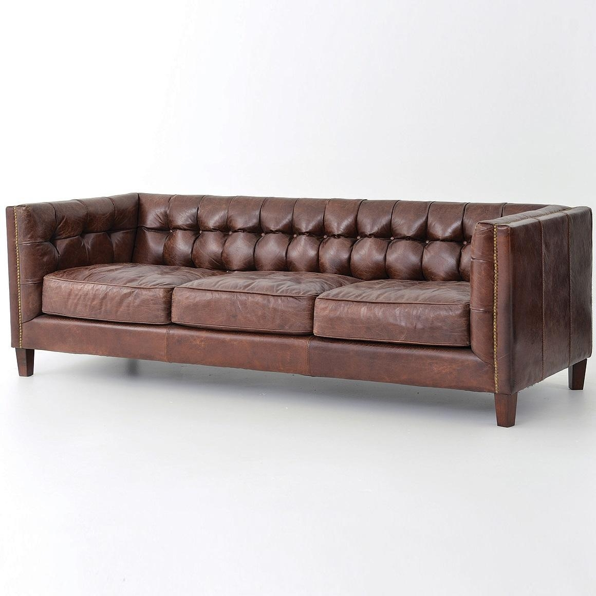 Sofas Center : Archaicawful Leather Tufted Sofa Photos Design Throughout Brown Leather Tufted Sofas (Image 17 of 20)