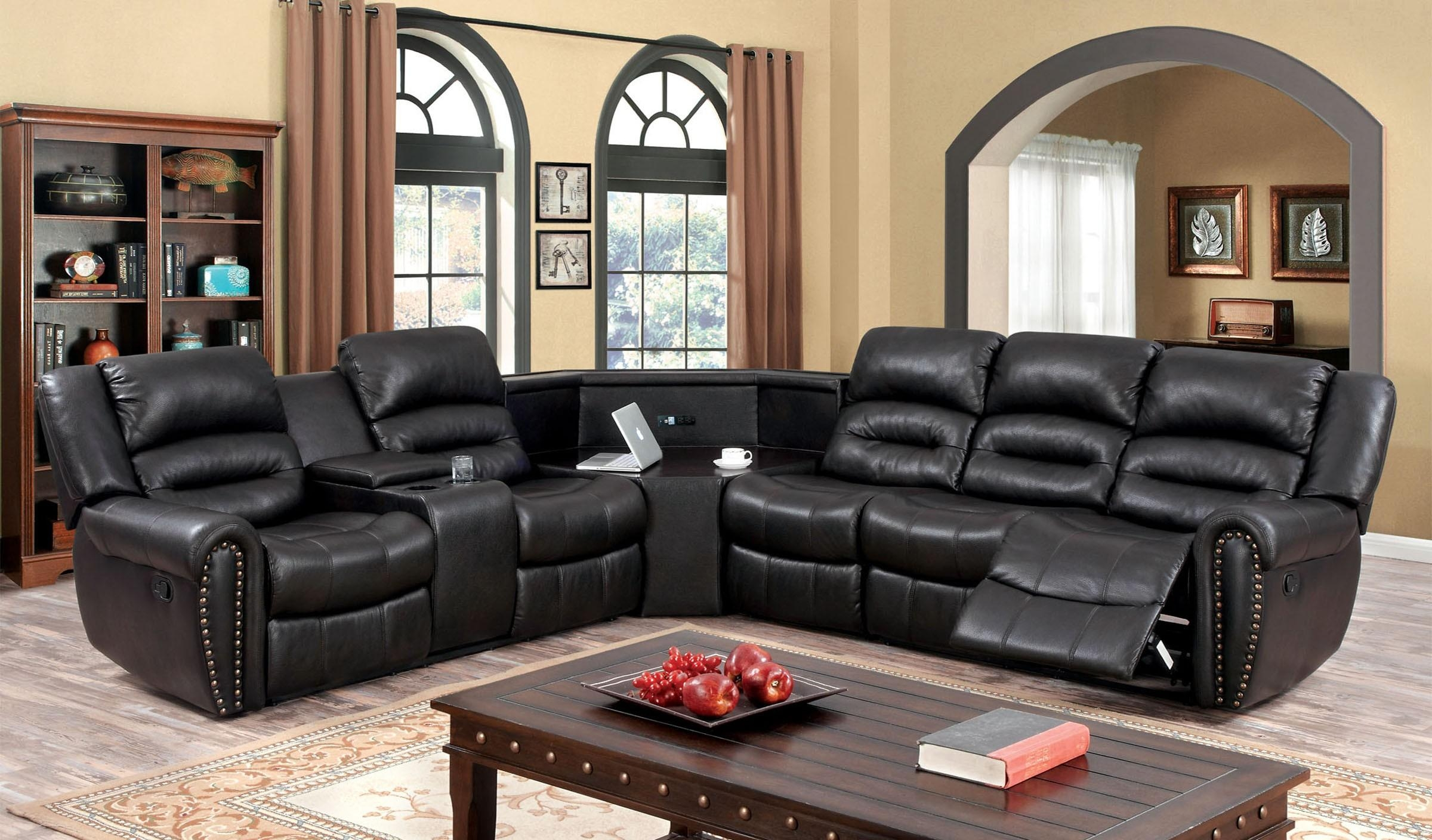 Sofas Center : Brown Leather Sectional Sofa With Chaise Sofas In Throughout Sectional With Cup Holders (Image 17 of 20)