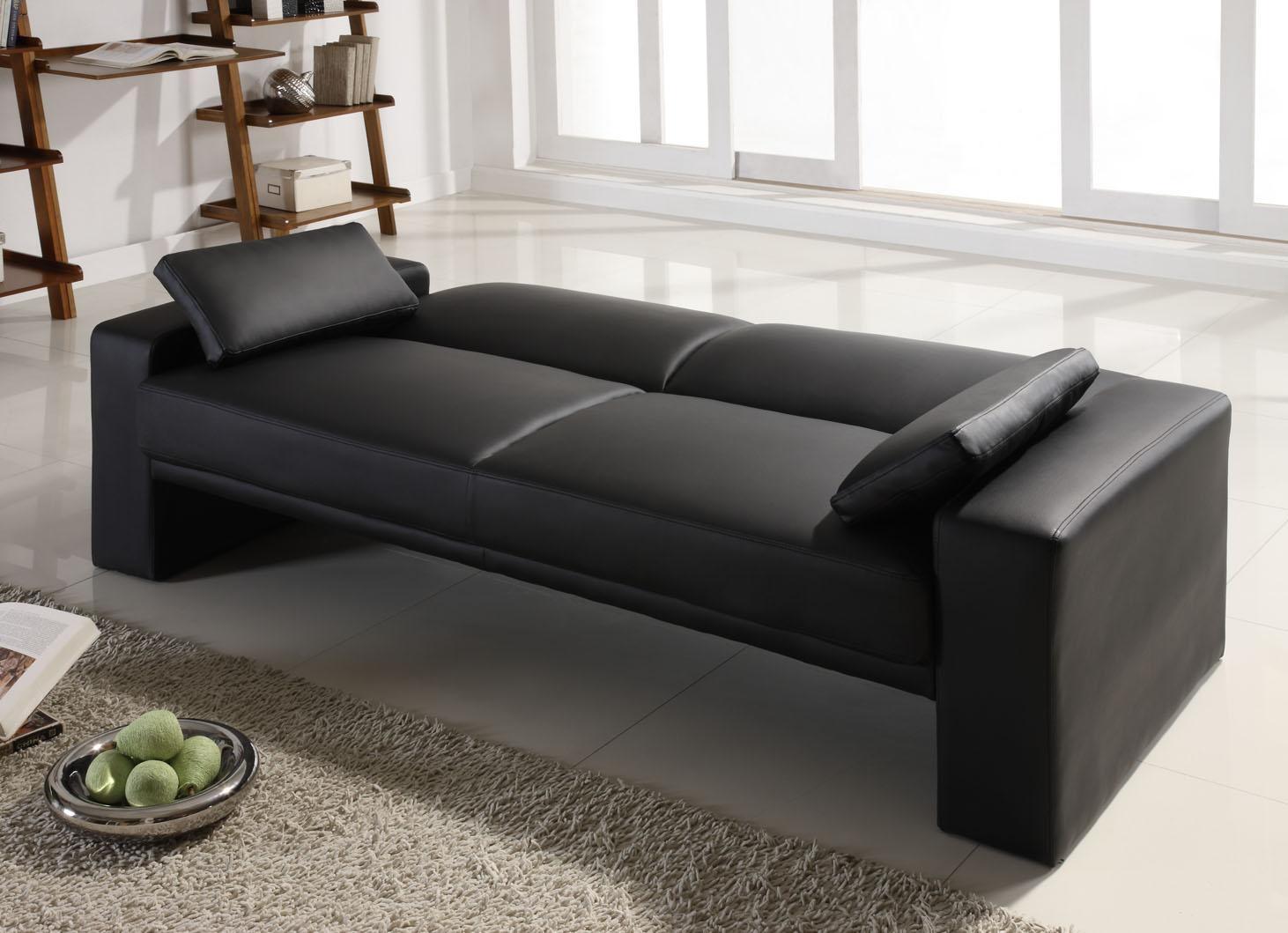 Sofas Center : Bycast Leather Futon Sofa Emily Faux Convertible Throughout Faux Leather Futon Sofas (View 2 of 20)