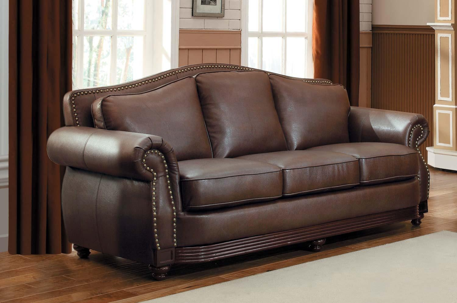 Sofas Center : Camelbackther Sofa 0002529 Josephine Wood With Brown Leather Sofas With Nailhead Trim (Image 17 of 20)
