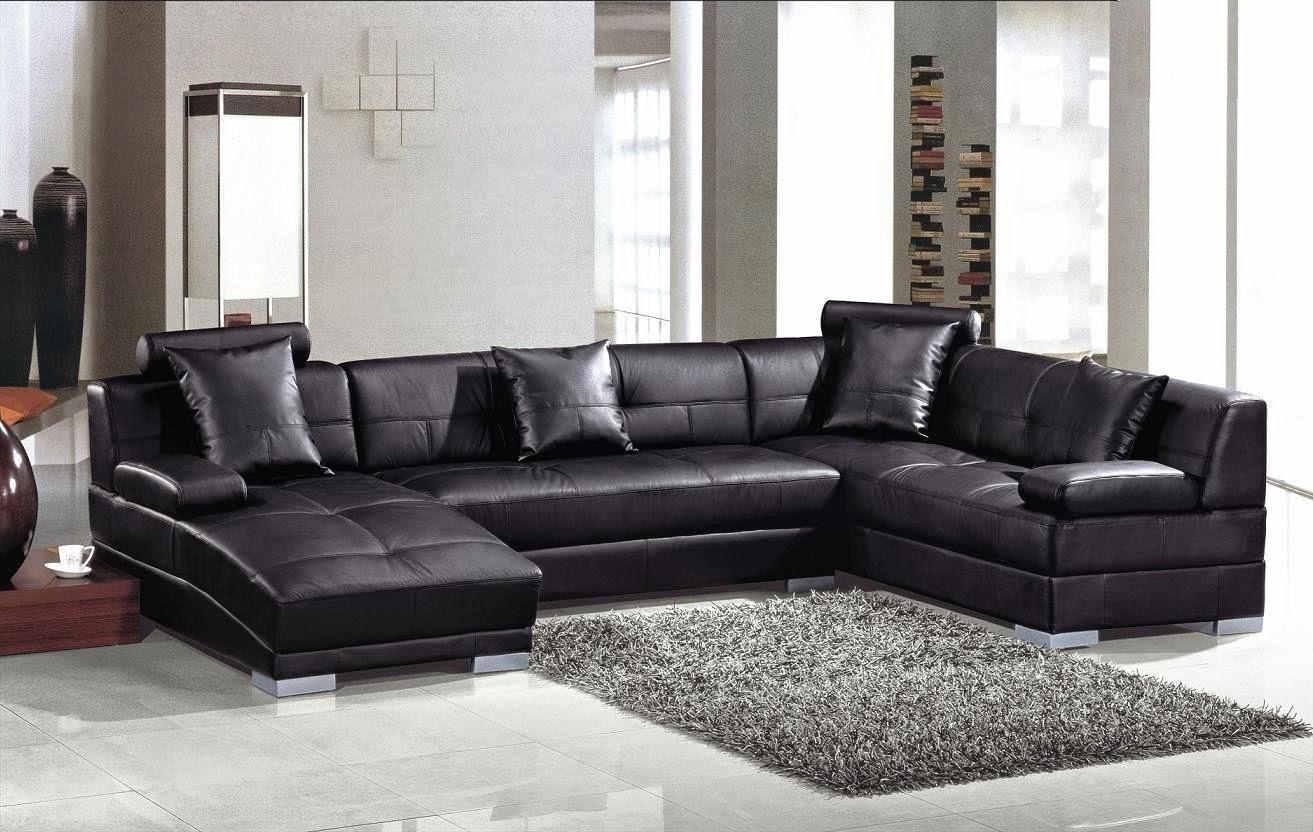 Sofas Center : Contemporary Leather Sectional Sofa Withaise For Inside Black Leather Chaise Sofas (View 9 of 20)
