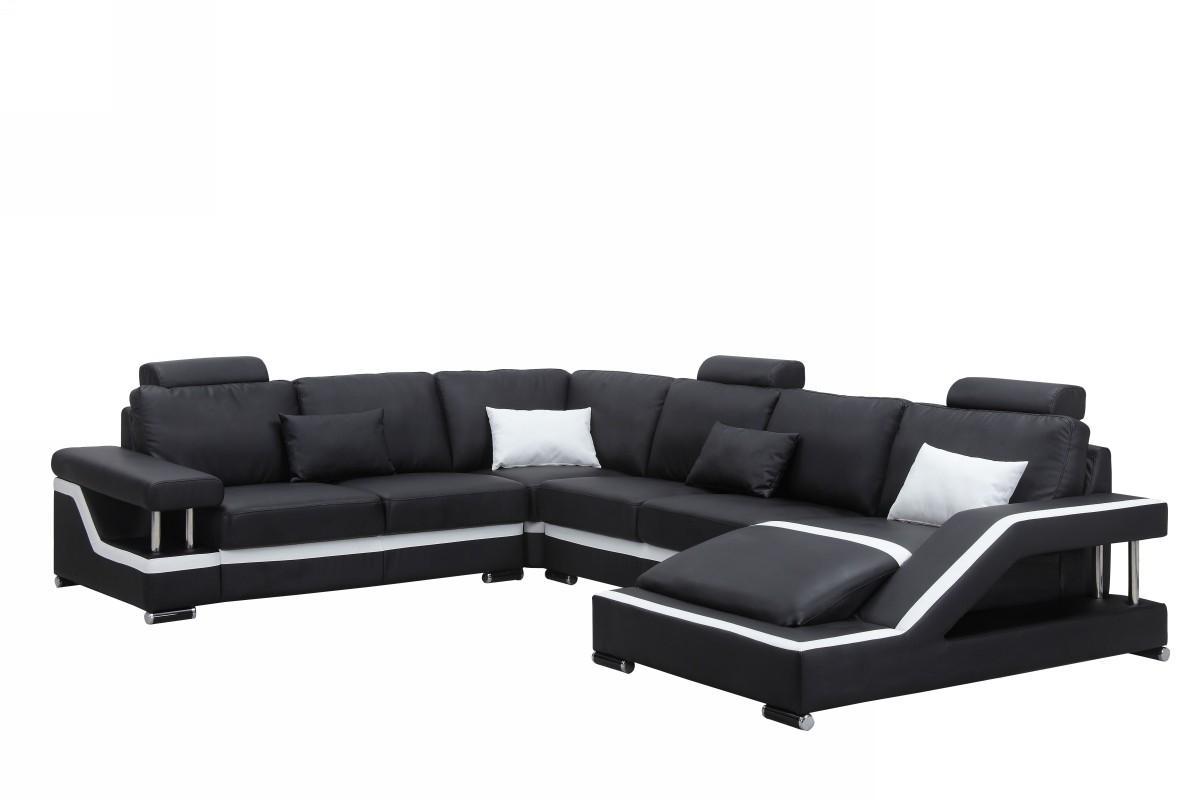 Sofas Center : Decoration Black Leather Sofaional With Chaise Within Black Leather Chaise Sofas (Image 17 of 20)