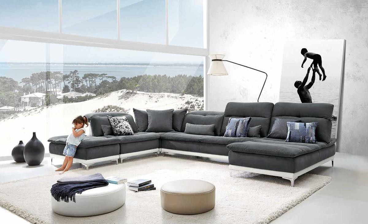 Sofas Center : Ferrari Horizon Modern Grey Fabric Leather Regarding Abbyson Sectional Sofas (Image 19 of 20)