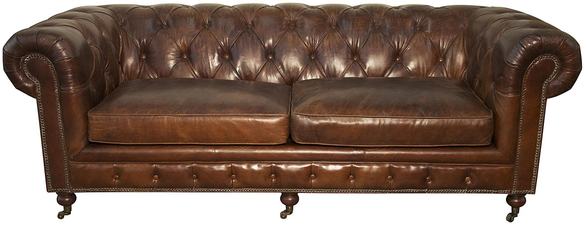 Sofas Center : Leather Tufted Sofa Seat Too With Rolled Arms White With Regard To Brown Tufted Sofas (View 2 of 20)