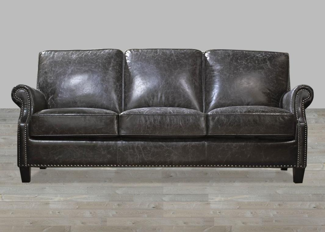 2017 latest charcoal grey leather sofas