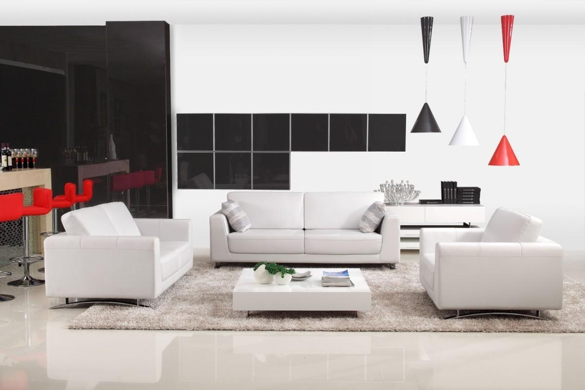 Sofas Center : Modern White Leather Sofa Loveseat Chair Set With Commercial  Sofas (Photo 16