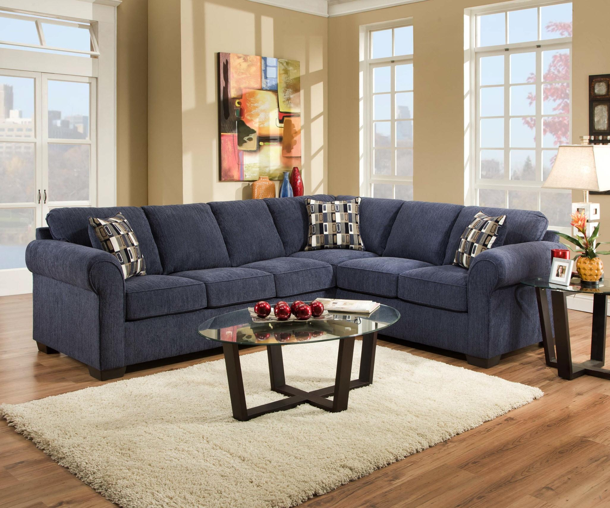 Sofas Center : Navy Blue Sofa Set Leather Wayfair Sectional With Blue Microfiber Sofas (View 6 of 20)
