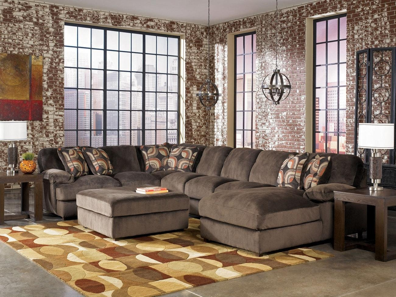 Sofas Center : Popular Oversized Sectionals Sofas About Remodel Throughout Sectional With Oversized Ottoman (Image 17 of 20)