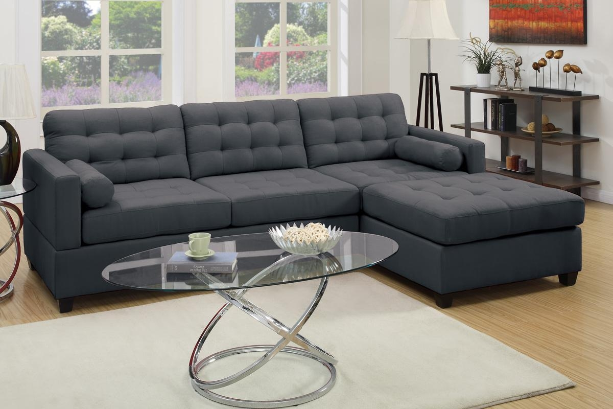 Sofas Center : Poundex Greyabric Sectional Sofa Stealurniture In Sofas With Chrome Legs (Image 17 of 20)