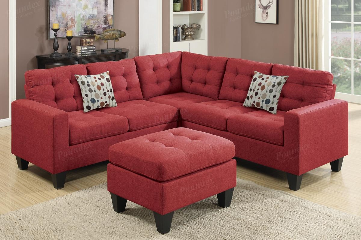Sofas Center : Red Leather Sectional Sofa With Large Ottoman With Sectional Sofa With Large Ottoman (Image 19 of 20)
