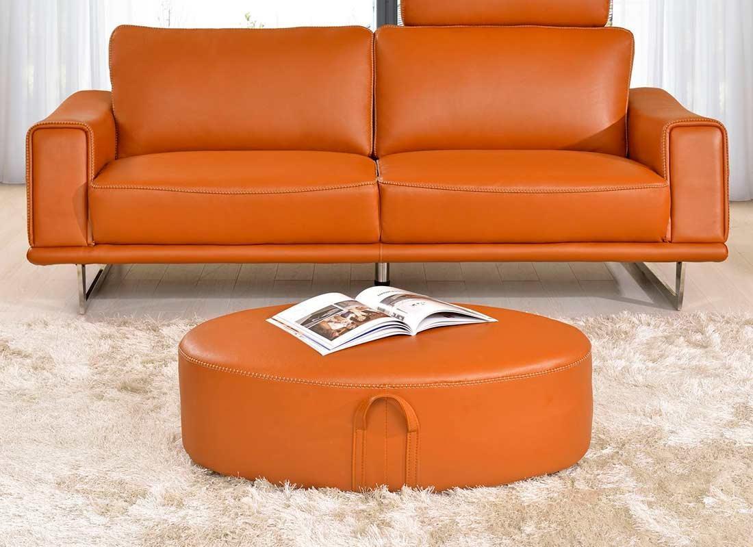 Sofas Center : Remarkable Orange Leather Sofa Photo Concept Modern Within Burnt Orange Leather Sofas (Photo 2 of 20)