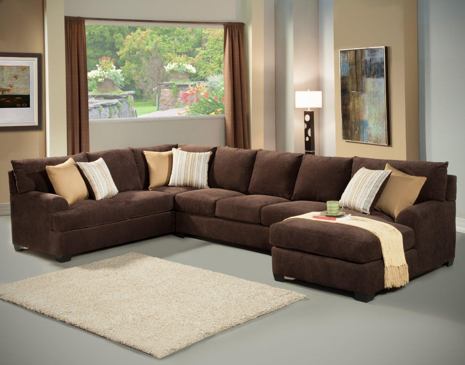 Sofas Center : Simmons Dark Brownrofiber Sectional Sofabrown Throughout Leather And Chenille Sectional (Image 19 of 20)