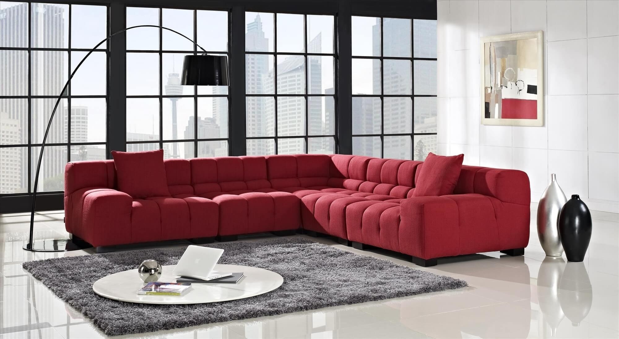Tosh Furniture Modern Franco Red Black Leather Sofa Set