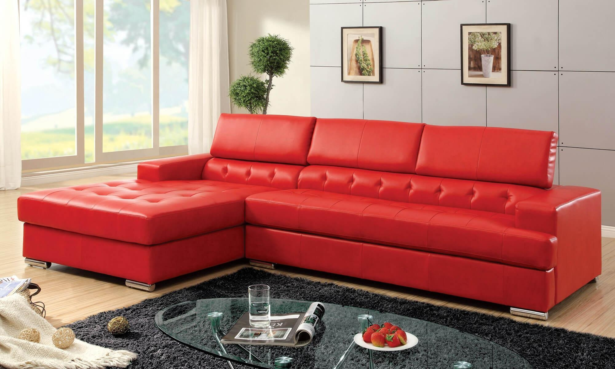 Sofas: Luxury Your Living Room Sofas Design With Red Sectional Intended For Dark Red Leather Couches (Image 18 of 20)