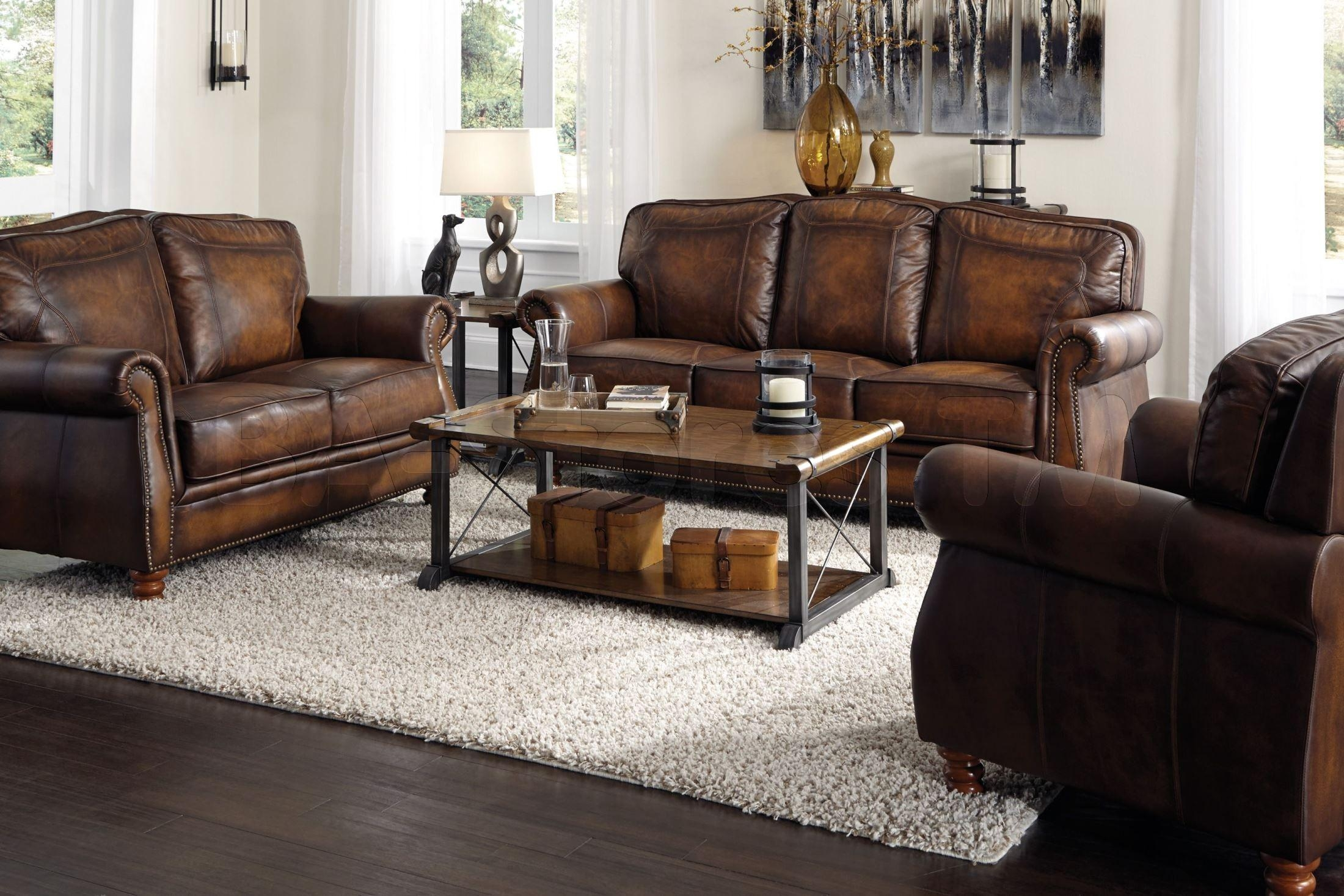 Sofas: Montbrook Hand Rubbed Brown Leather Sofa Coa 503981/3 – Ba With Regard To Brown Leather Sofas With Nailhead Trim (Image 18 of 20)