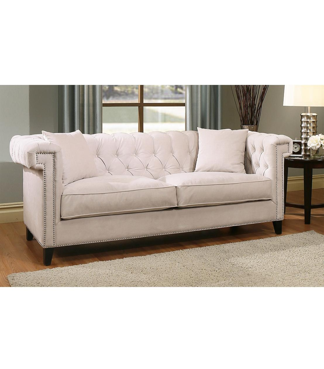 Sofas : Victoria Velvet Sofa, Ivory Pertaining To Abbyson Sofas (Image 15 of 20)