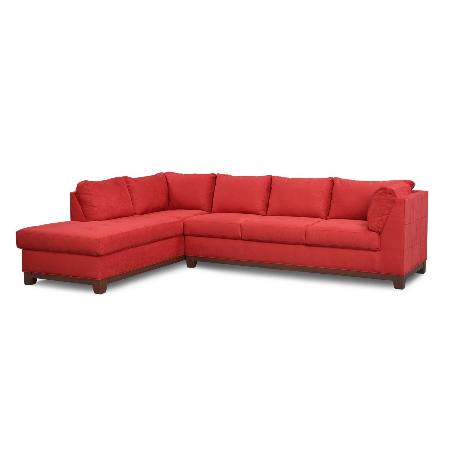 Soho 2 Piece Sectional With Left Facing Chaise – Red | Value City Within Sectional With 2 Chaises (Image 16 of 20)