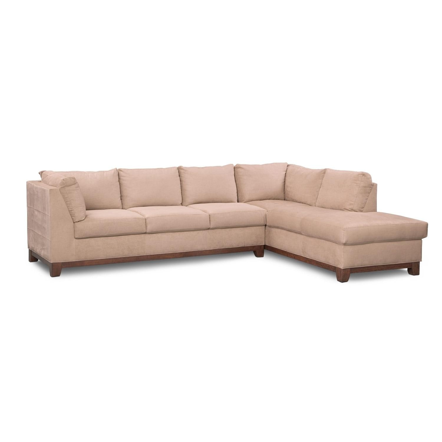Soho 2 Piece Sectional With Right Facing Chaise – Cobblestone Regarding Sectional With 2 Chaises (Image 18 of 20)