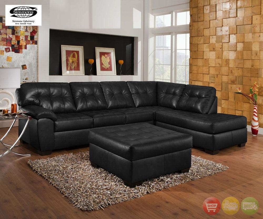 Soho Contemporary Black Bonded Leather Tufted Sectional Sofa W In Simmons Sofas (View 2 of 20)