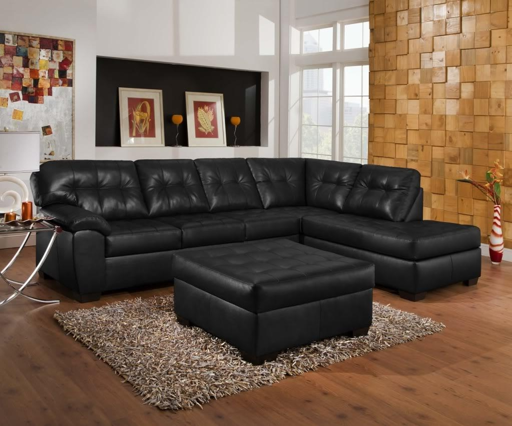 Soho Contemporary Black Bonded Leather Tufted Sectional Sofa W Throughout Simmons Sofas And Loveseats (Image 20 of 20)