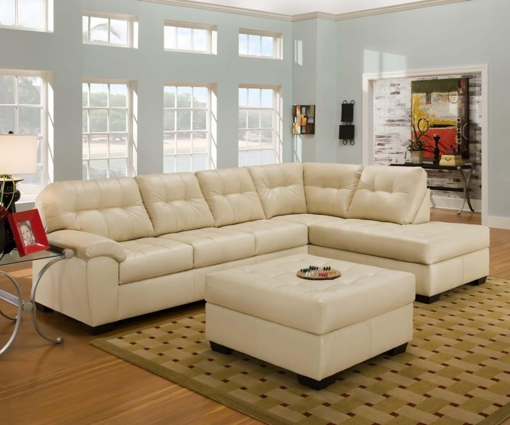 Soho Contemporary Ivory Bonded Leather Sectional Sofa W/chaise Pertaining To Simmons Bonded Leather Sofas (Image 19 of 20)