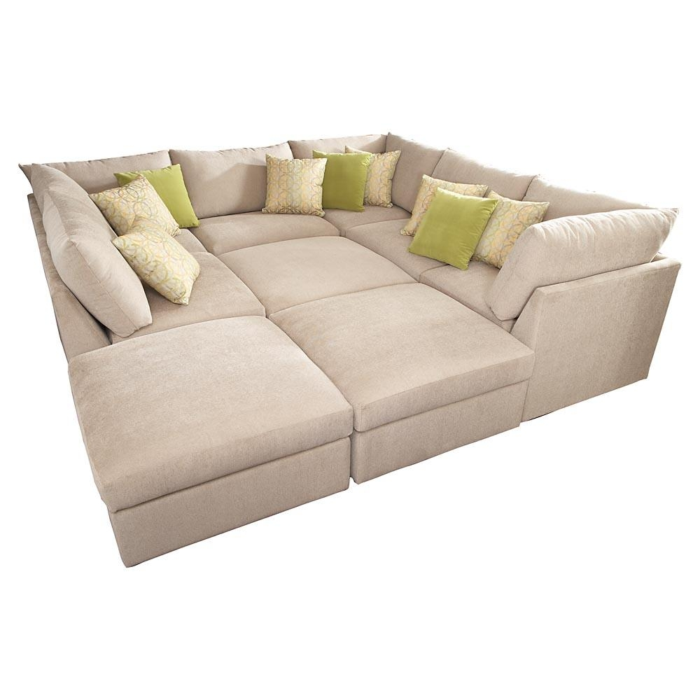 Lovely Soho Tufted Leather Ottoman   Upholstered Sectional Within Huge Regarding Huge  Sofas (Image 20 Of
